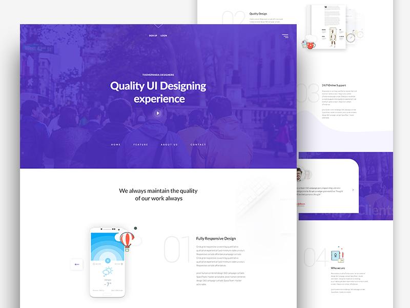 Themeunix: Web Landing page Design ux ui best dribbble shot responsive design dribbble template psd landing page design