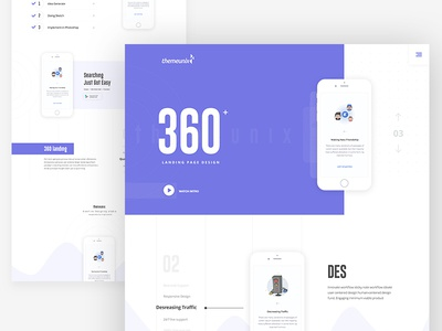 Themeunix: 360 Landing age illustration 360 template dribbble best shot app landing page landing page