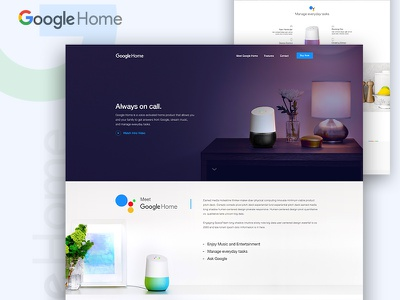 Google Home Landing Page Concept  home page gmail google product google landing page app landing page dribbble best shot google home google landing page