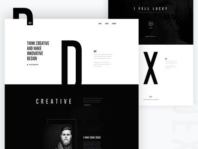 DEX : Creative Landing Page Design black and white tobias creative illustration template dribbble best shot app landing page landing page