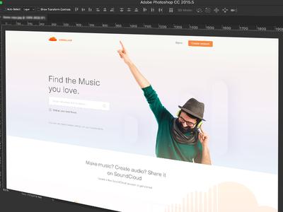 WIP - Soundcloud Landing page Concept ... soundcloud redesig creative design landing page soundcloud wip