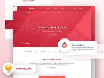 Free Free : Your Real Design Partner free sketch file free web freebie uinugget design gradient landing page app landing page dribbble best shot template illustration creative