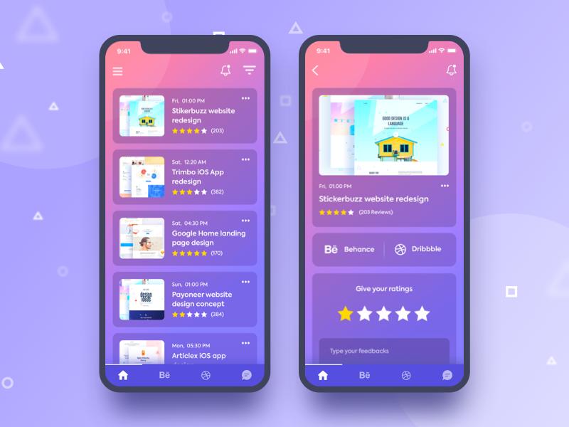 Listing & Single View .. trimbo social app social ui ux ui gradient color creative design google gmail