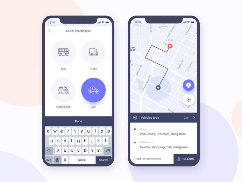 Parking Finder:  iOS Application Design trimbo social app social ui ux ui gradient color parking design google gmail