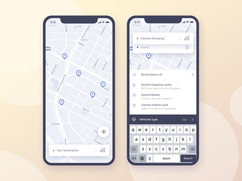 Screen 2 - Parking Finder:  iOS Application Design gmail google design parking color gradient ui ux social ui app social trimbo