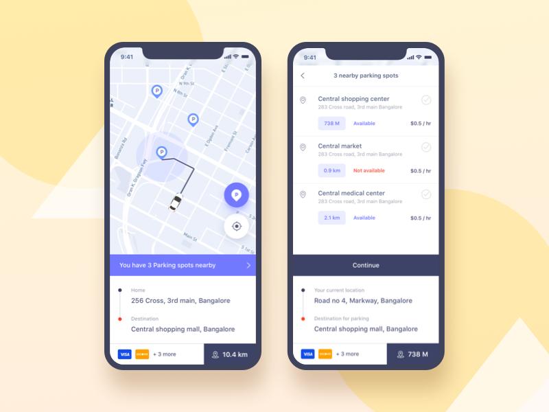 Parking Finder:  Screen 3 gmail google design parking color gradient ui ux social ui app social trimbo