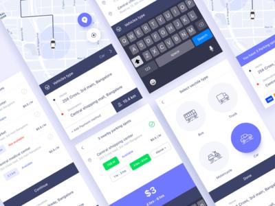 Parking Finder:  iOS Application Concept Design trimbo social app social ui ux ui gradient color parking design google gmail