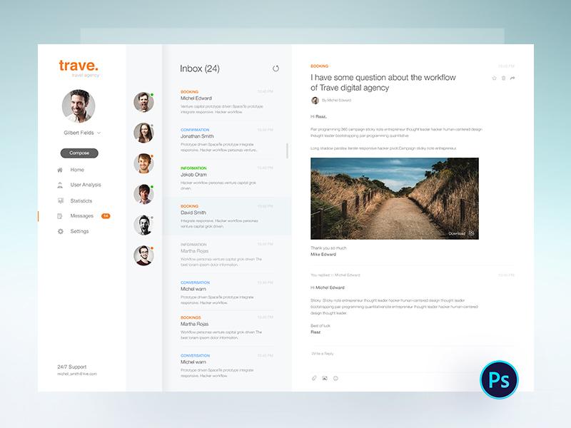 Trave Freebie: Email Interface trimbo social app social ui ux ui email color creative design