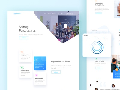 Website Design for a Software Company isometric curve quotes logo branding shifting animation app graph colorful bitbean website