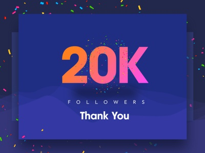 20K Followers – Thank you 10k design creative color gradient typography template ui ux
