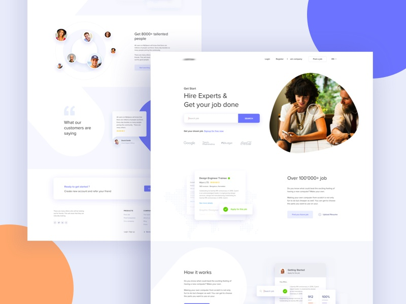 Hire Experts & Get your job done : V2 job job landing social ui work gradient color creative design google gmail