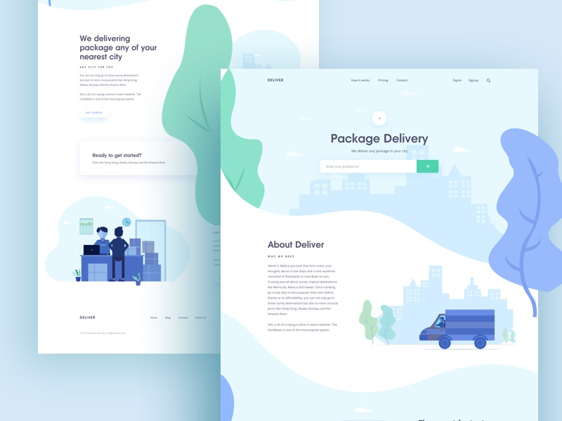 Package delivery food car design green illustrations delivery boy delivery package ui ux