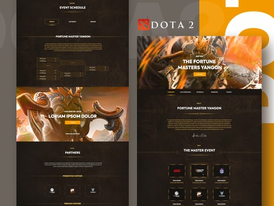 Dota2 : Master Page Design gaming logo graphic design typography game website game design gaming interface game obsidiangaming dota2 master gradient