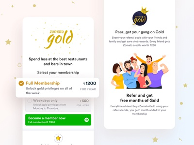 Zomato Gold Subscription Page