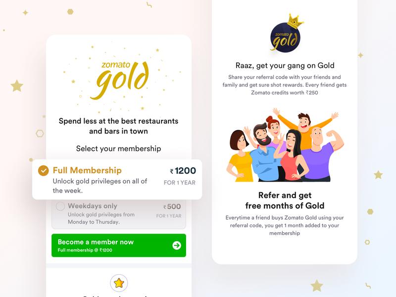 Zomato Gold Subscription Page