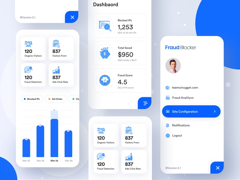 App #3 Protect advertisers from paying for fraudulent clicks dribbble best shot uinugget dashboard android ios app design ios app app  design design app design fraudblocker fraud