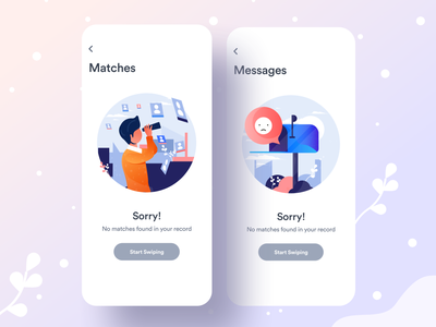 Coming on App Store : Dating App sorry no matches no message profile match message vector illustration dribbble best shot creative dating website dating daring app