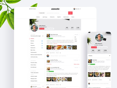 Concept Design for Zomato User Profile figma typography app landing page landing page gradient ux ui design dribbble best shot zomato new design user zomato profile profile zomaland zomato