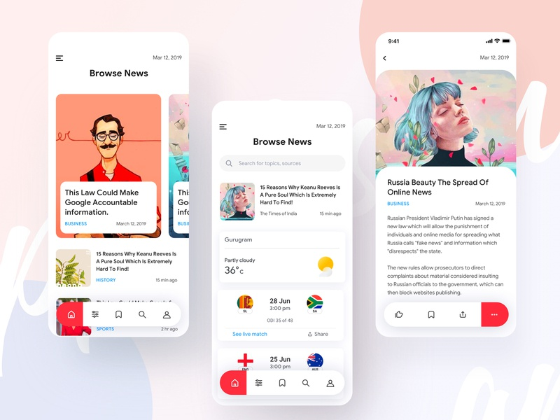 News Application ux design dribbble best shot vector news newsfeed newspaper newsletter latest news ted times of london times of india minimal new york worldcup cricket crime news feed creative