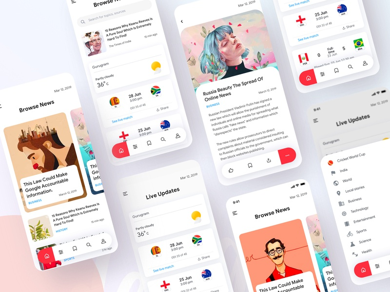 News Application uinugget creative news feed crime cricket worldcup new york minimal times of india times of london ted latest news newsletter newspaper newsfeed news vector dribbble best shot design ux