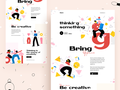 Thinking is the enemy of creativity : Vol 3 logo typography branding landing page gradient illustration creative dribbble best shot dribbble out of the box agency website design web