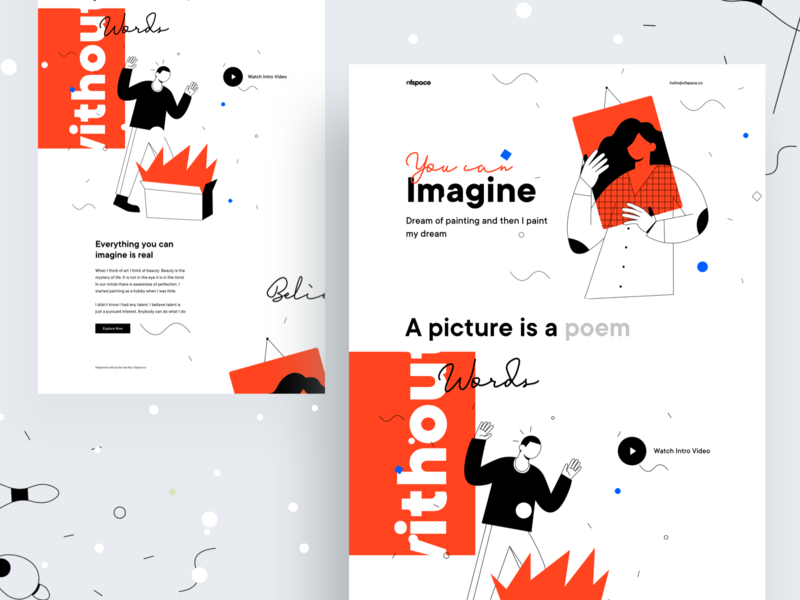 Thinking is the enemy of creativity: V5 ofspace website design company dribbble best shot branding gradient ui ux creative template landing page design outof the box agency web website designer website design landing
