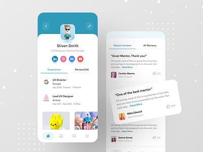 Design Mentor App illustration creative ui ux dribbble best shot best app design profile page profile google mentoring mentors mentor design mentor app design ios