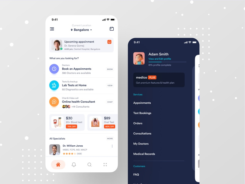 Medical App ofspace inside ux dribbble best shot blood booking app ofspace branding medical logo medical care hospital app hospital health care health app healthcare health medical design medical app medical