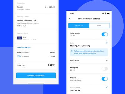 NHS Medicine Ordering and Reminders design solutelabs ui ux online ordering ordering drugstore medicines medicine app nhs