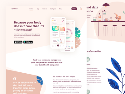Sora landing page illustration analytics fintech technology science woman health app landingpage womans app womans health healthcare
