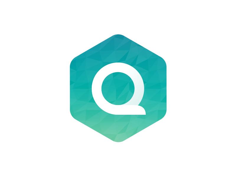 Quenza ios rewards user flat design flat logo branding cubist hexagon
