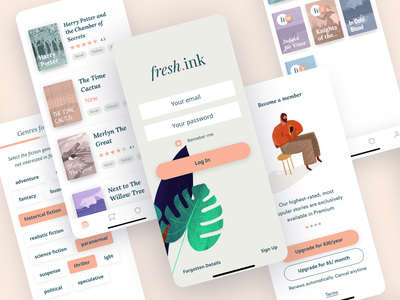 Fresh Ink Mobile e-book ebook book art readers authors author uiux uidesign ux ui design branding ux ui procreate clean illustration typography book app app