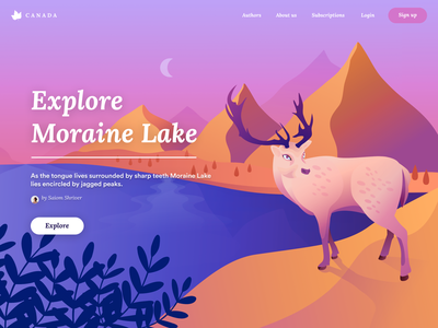 Moraine Lake phobos signup cta deer ux uiux ui discover explore canada landscape illustration
