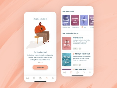 Fresh ink onboarding ui walkthrough illustrations typography e-book readers book cover books book art book design author app author reader app book app