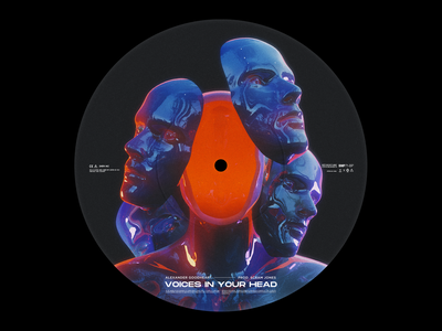 Voices in your head music model human 3d abstract lp ep cd sleeve design album cover