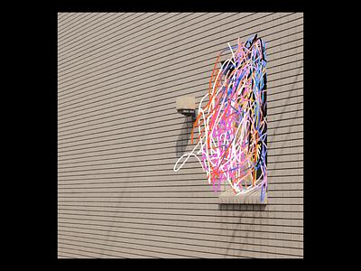 Ex.292 music record sleeve vinyl colorful warm rainbow vector lines lp ep abstract block art album
