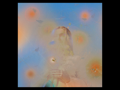 Ex.298 music sky sun nature grain pastel blue orange iridescent faded lp ep vinyl art album