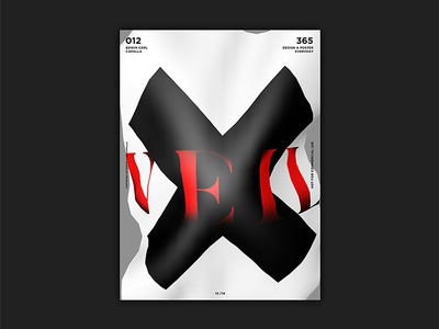 012 grayscale red x veil challenge design everyday poster