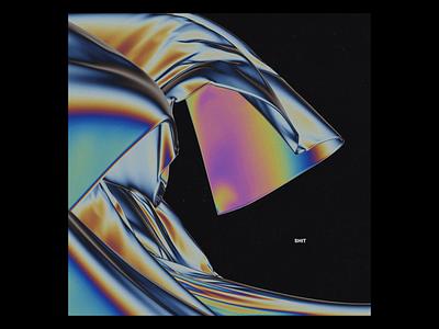 Ex.261 cloth iridescent vibrant rainbow chromatic 3d illustration artwork cover sleeve vinyl album