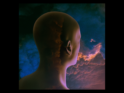 Ex.266 abstract illustration lp cd ep clouds sky flying above god alive person design cover art album