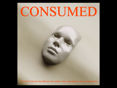 Ex.269 cd lp ep typography warm orange water wave sand 3d mask sleeve vinyl face cover art album
