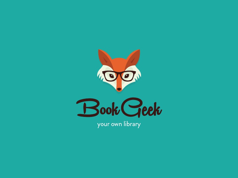Book Geek  logo book geek fox glasses orange turqoise library smart reads illustration cute