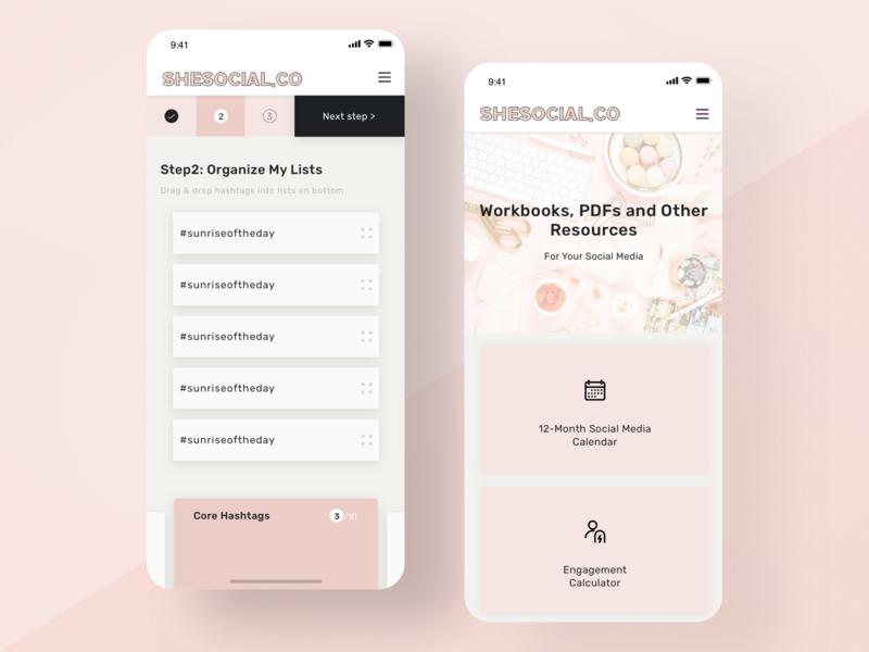 eLearning Platform Mobile organize mobile website responsive website responsive design list pink steps hashtags drag and drop cards ux ui