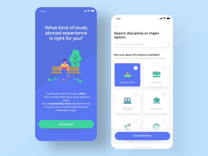School Matching App ios mobile app green blue responsive splash screen intro screen learning school search mobile cards ux ui onboarding