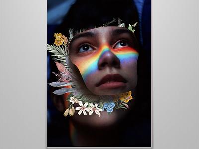 blooming rainbow face flowers illustration photoshop music art album art minimalist minimal design