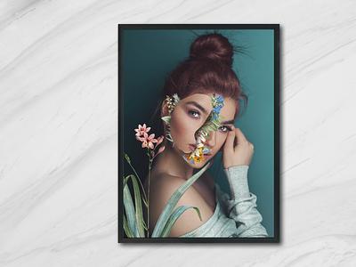 blooming face 2 illustration flowers photoshop music music art album art minimalist minimal design