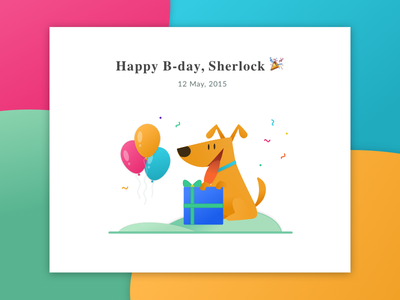 Happy Birthday card with illustration colours ui party congratulations confetti balloon card dog illustration gift web