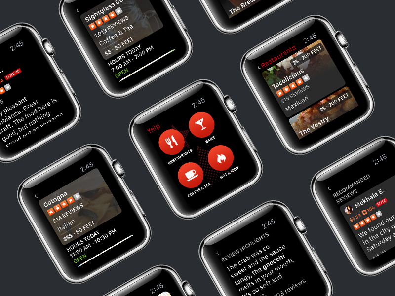 Yelp for Apple Watch yelp ui apple watch watch ux