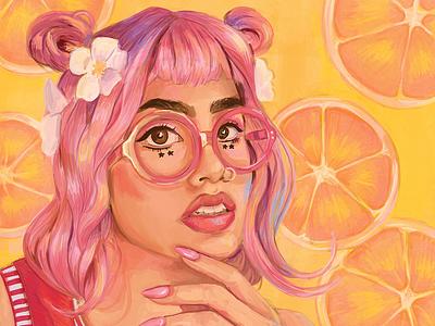 Summertime Portrait digital painting portraiture art illustration pink orange red summer fruit painting photoshop portrait