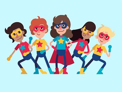 Superteam Illustration star formation primary super hero costume mask people team vector illustration superhero
